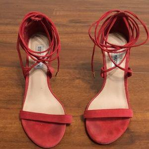 Open toe lace up faux suede pumps